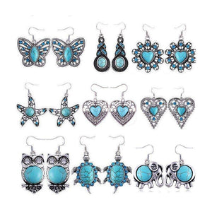 Bohemian Vintage Silver Plated Crystal Turquoise EarringsEarrings