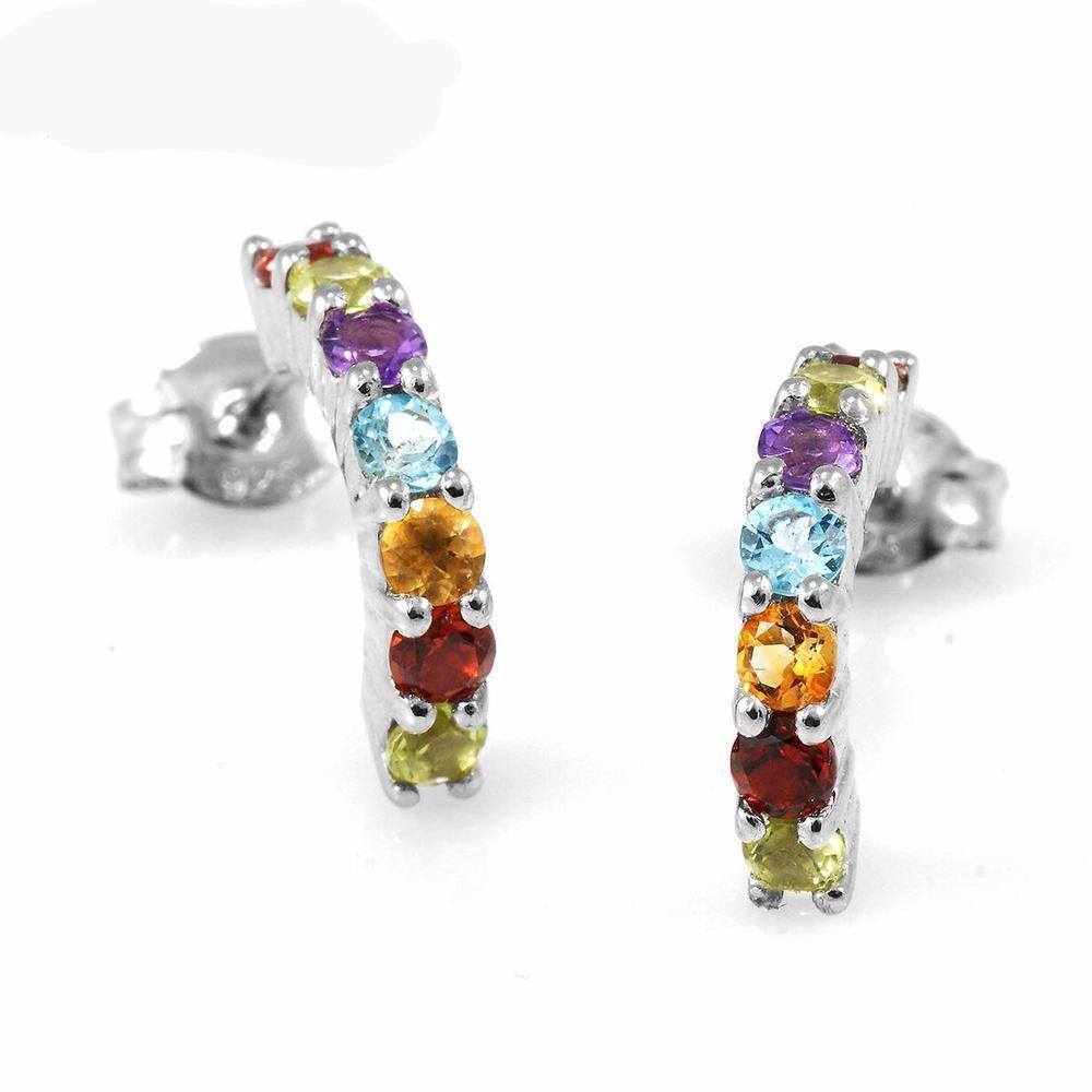 Genuine Peridot Garnet Citrine Amethyst and Blue Topaz 925 Silver Earrings - AtPerrys Healing Crystals - 1