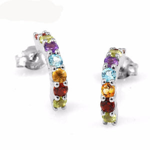 Genuine Peridot Garnet Citrine Amethyst and Blue Topaz 925 Silver Earrings   AtPerrys Healing Crystals   1