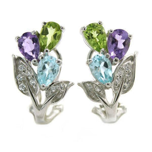 Natural Amethyst Peridot Topaz On Earrings   AtPerrys Healing Crystals   1