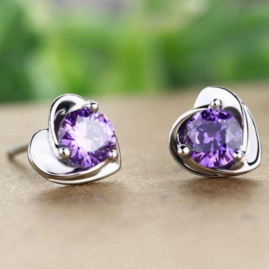 Natural Amethyst Silver Heart Earrings - AtPerrys Healing Crystals - 1