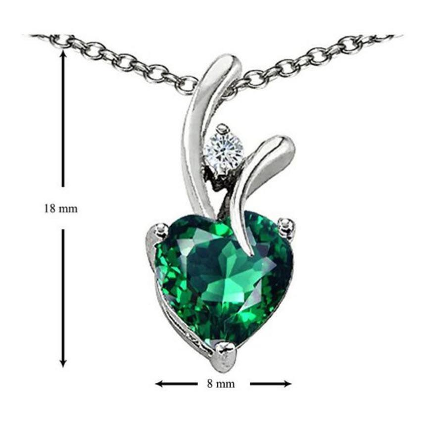 Emerald 8mm Heart Shaped Silver Necklace  (Shipping to US only)   AtPerrys Healing Crystals   2