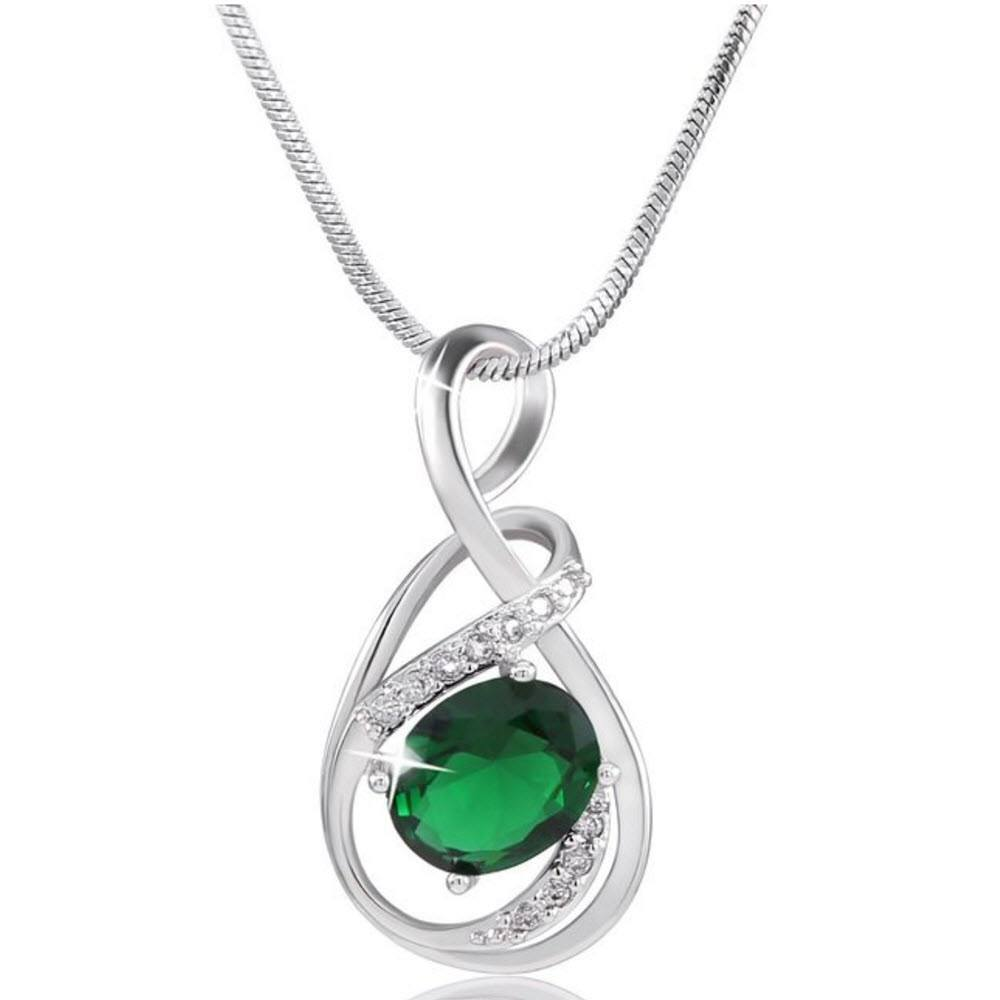 Emerald Charm Silver Necklace (Shipping to US only)   AtPerrys Healing Crystals   1