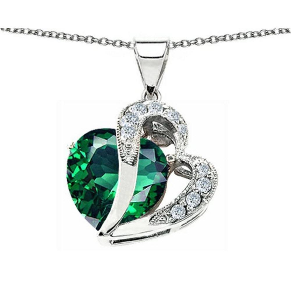 Emerald Large Double 12mm Heart Silver Necklace - AtPerrys Healing Crystals - 1