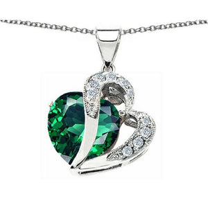 Emerald Large Double 12mm Heart Silver Necklace   AtPerrys Healing Crystals   1