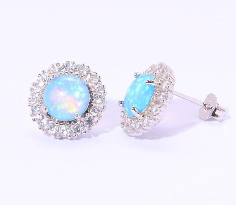 Blue Fire Opal Wondrous Stud Earrings