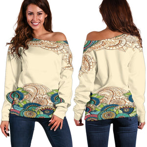 Henna Chakra Vibes - Women's Off Shoulder SweaterWomen's Off Shoulder Sweater - Henna Chakra Vibes - Women's Off Shoulder Sweater2XS