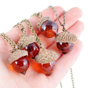 Glaze Acorn Cone Pendant Spinning Top Pendant With Red Quartz Drop Natural Stone NecklaceNecklace