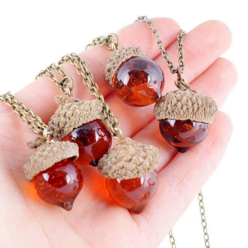 Glaze Acorn Cone Pendant Spinning Top Pendant with Red Quartz Drop Natural Stone Necklace