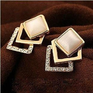 Gold plated Pierced Rhinestone Opal Square Stud Earrings - atperry's healing crystals
