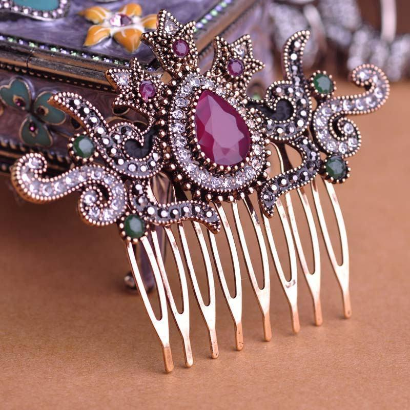 Vintage Crystal Women Hair Comb - atperry's healing crystals
