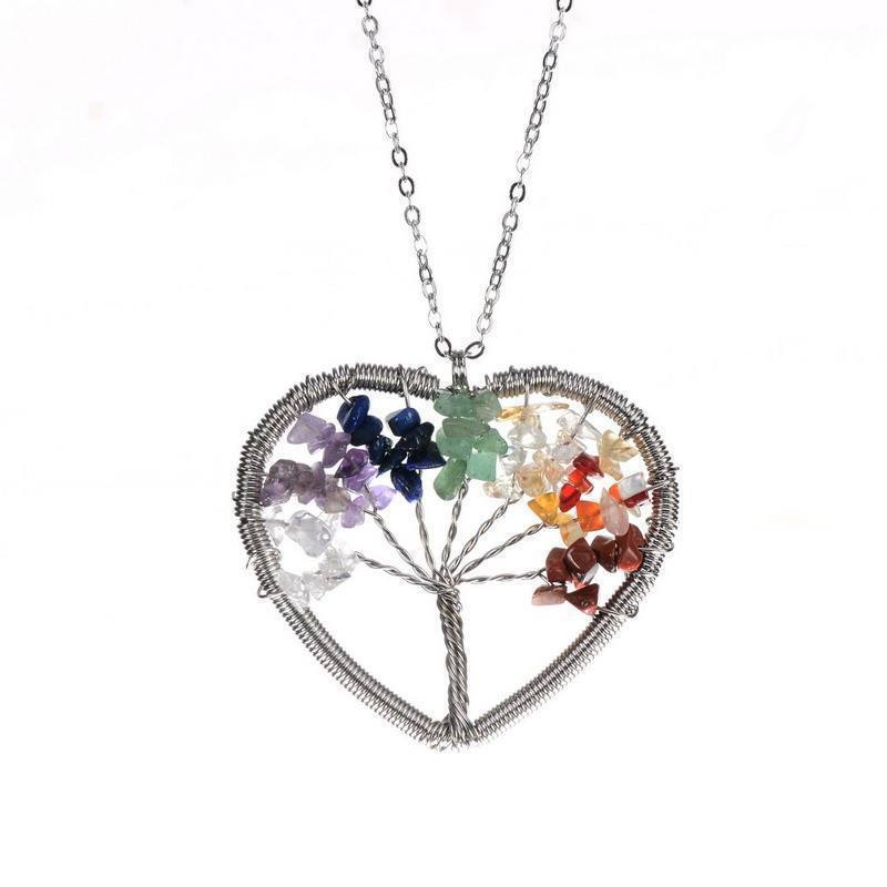 Heart Shaped Wisdom Tree of Life - Handmade 7 Natural Stones Pendant - AtPerrys Healing Crystals