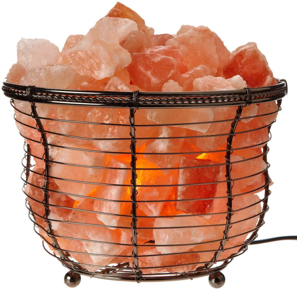 Himalayan Natural Crystal Salt Basket Lamp - AtPerrys Healing Crystals - 1