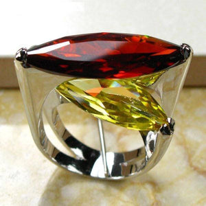 Huge Garnet Citrine 925 Sterling Silver Ring - atperry's healing crystals