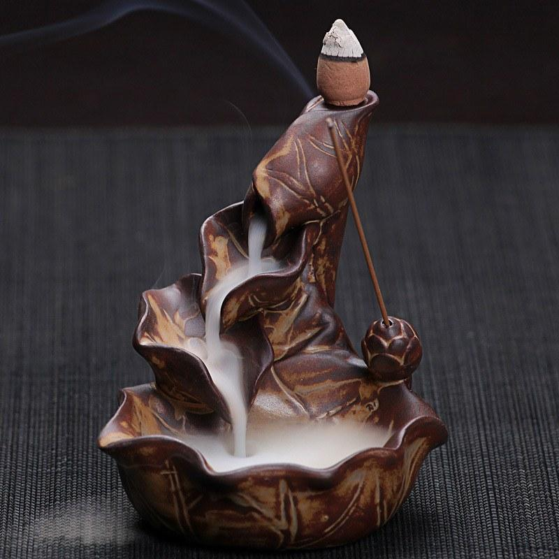 Chinese Ceramic Incense Burner Lotus Back Flow   AtPerrys Healing Crystals   1