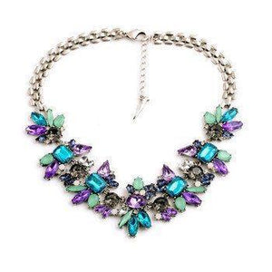 Luxury Created Crystal Flower Pendant Statement Necklace - atperry's healing crystals
