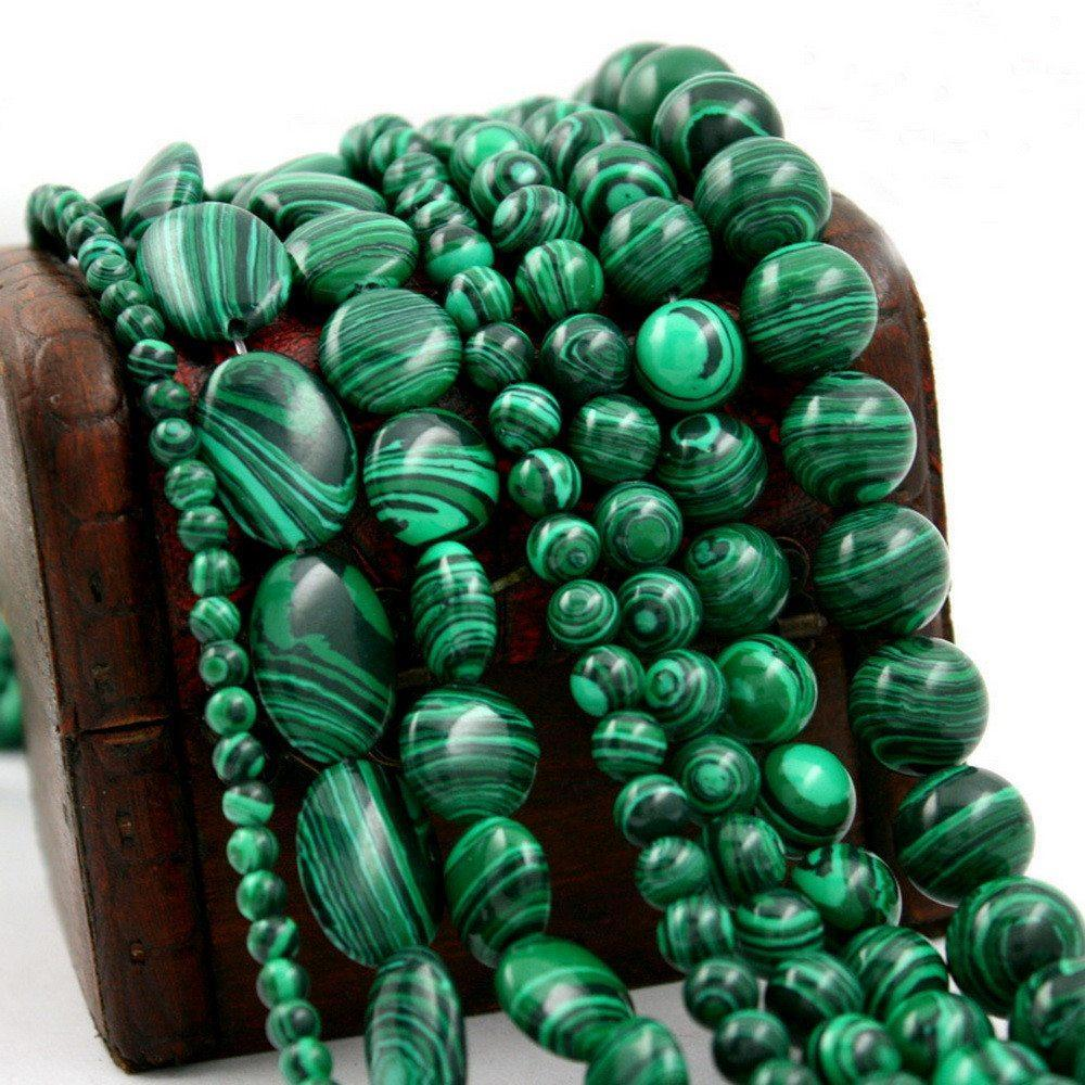 Malachite stone Beads - AtPerrys Healing Crystals - 1