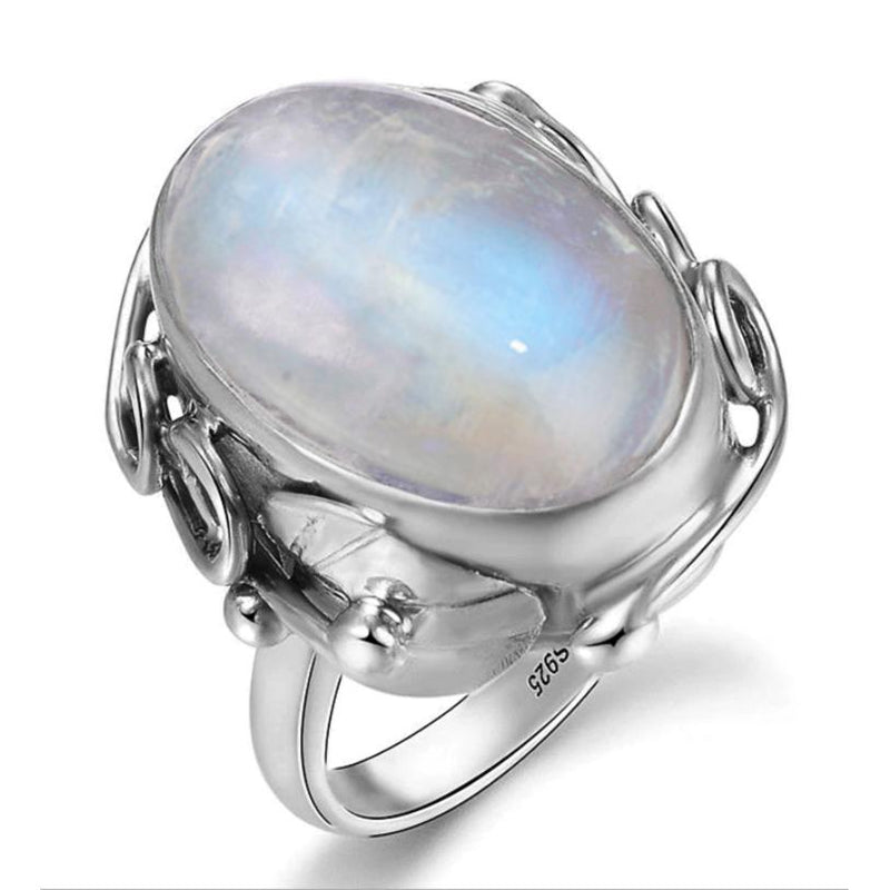 Natural Moonstone Ring - 925 Sterling Silver - atperry's healing crystals