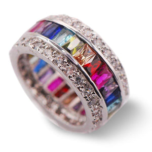Multi Gemstone Ring - 925 Sterling SilverRing6