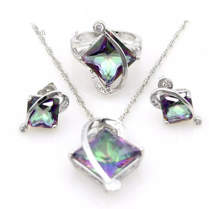 item stone crystal silver necklace genuine pendant topaz jewelry rainbow gem sterling ring mystic earrings