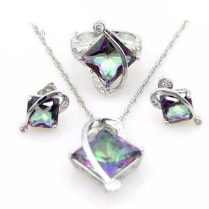 Mystic Topaz  Earrings Jewelry Set with Large Stone - atperry's healing crystals