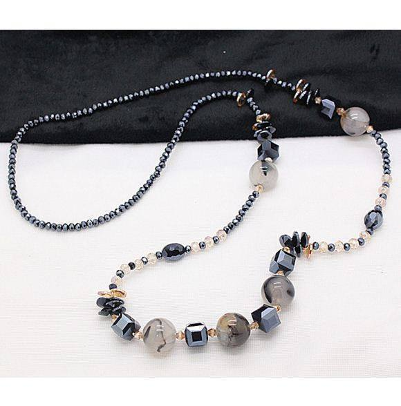 natural dragon print agate stone crystal long necklace - AtPerrys Healing Crystals - 1