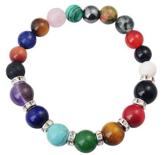 Natural Semi Precious Stone 8MM Round Beads Reiki Charms Bracelet with 7 Chakra Healing CrystalBracelet