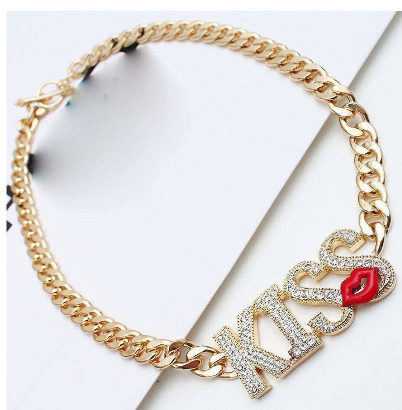 18K Gold Chain KISS Statement Necklace AtPerrys