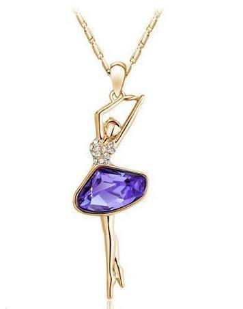18K Gold Plated Rhinestone Crystal Cute Lovely Dancing Girl NecklaceNecklace