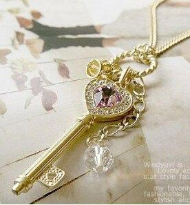 Amethyst Love golden   Silver key Necklace   AtPerrys Healing Crystals   1