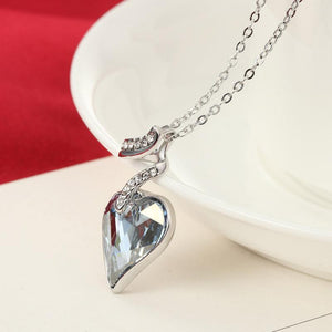 Blue Austrian Crystal Rhinestone Heart Love Chain Necklace - atperry's healing crystals