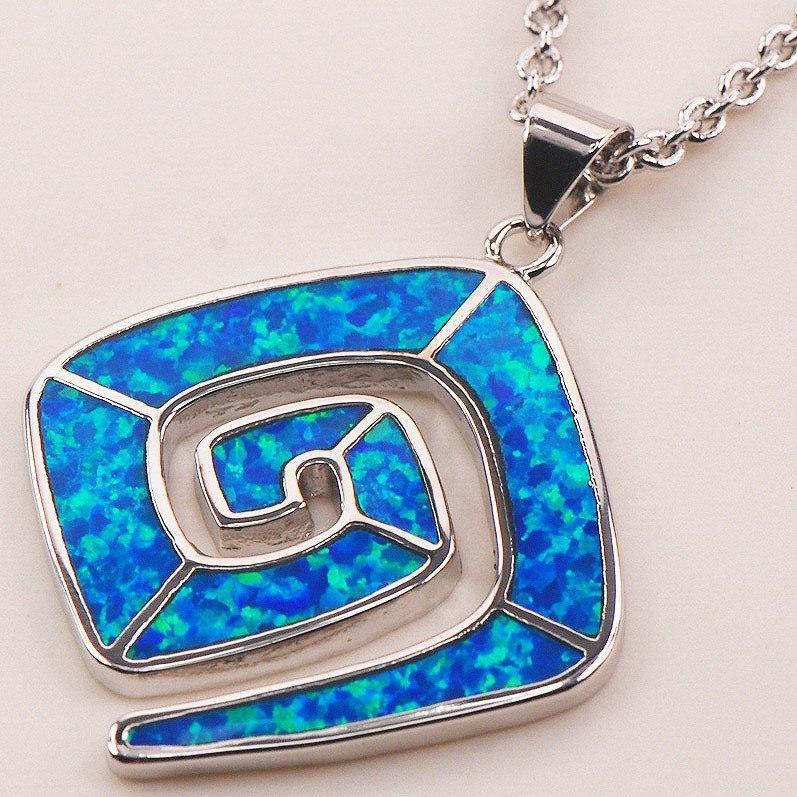 Blue Fire Opal Silver Necklace   AtPerrys Healing Crystals   1