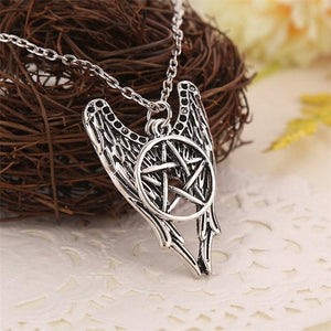 Pentagram Pentacle Angel Wings Pendant - atperry's healing crystals