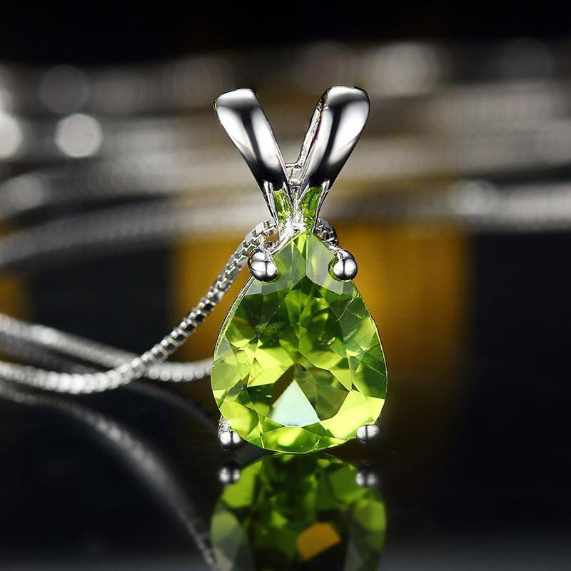 Peridot 925 Sterling Silver Necklace   AtPerrys Healing Crystals   1