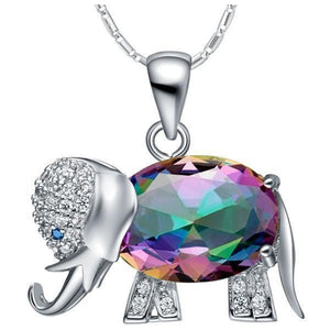 Rainbow Mystic Topaz Elephant Necklace - atperry's healing crystals