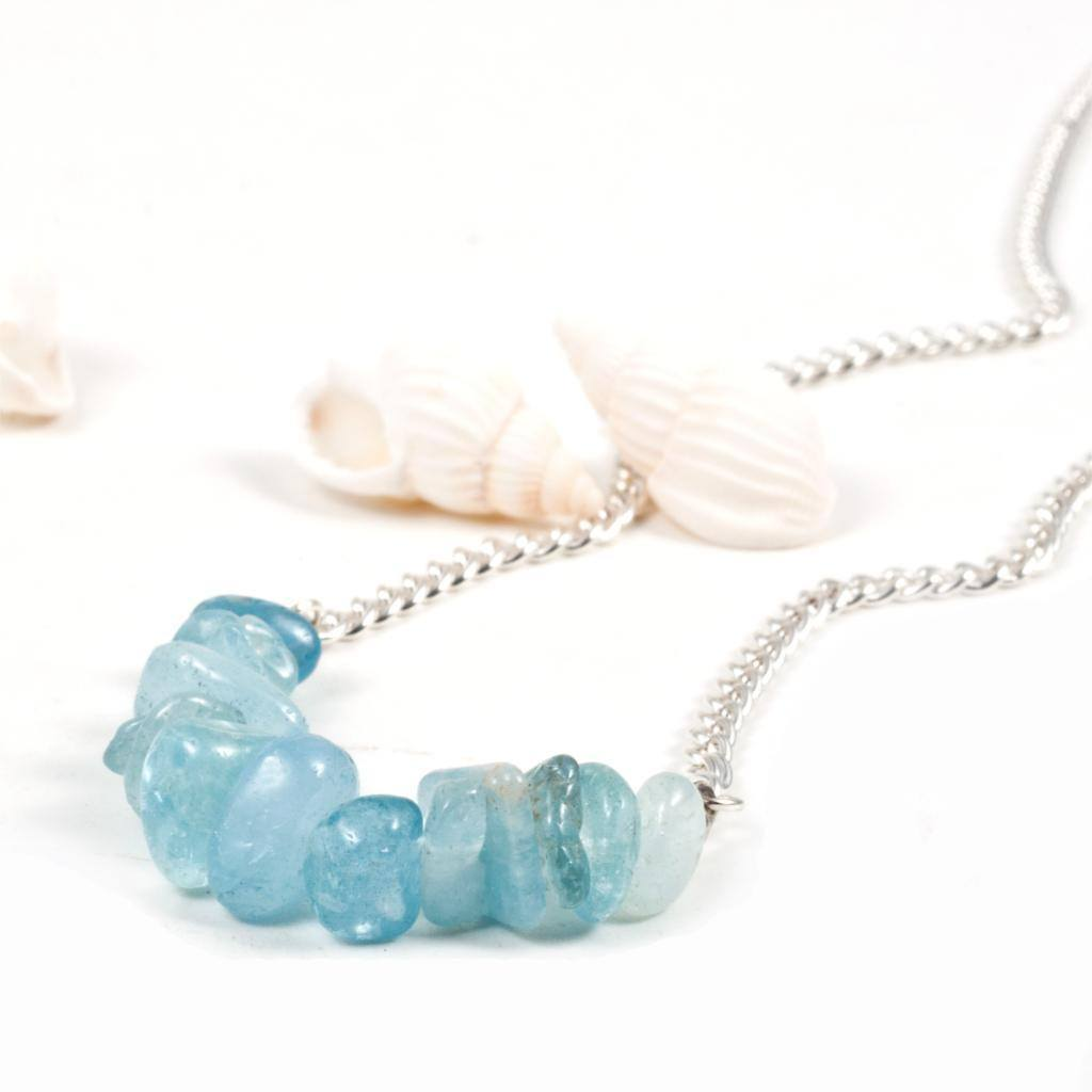 Silver Plated Blue Aquamarine Beads chain handmade - AtPerrys Healing Crystals - 1