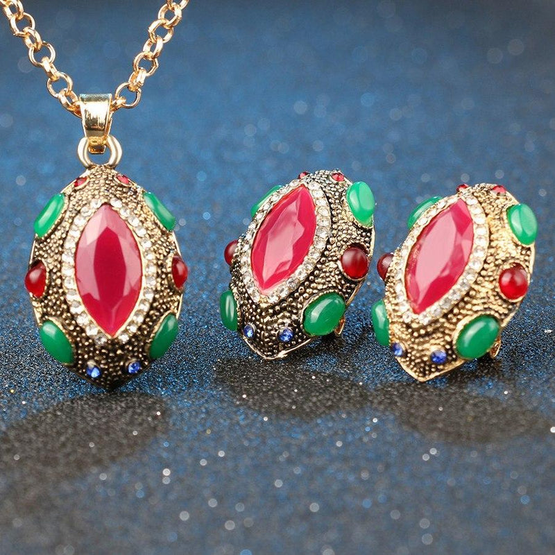 Turkish Ruby Necklace Earrings Set - atperry's healing crystals
