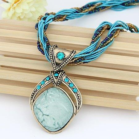 Vintage Bohemian Gemstone Handmade Beads NecklacesNecklace