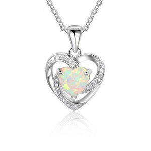 Heart White Fire Opal Silver Necklace - 925 Sterling Silver