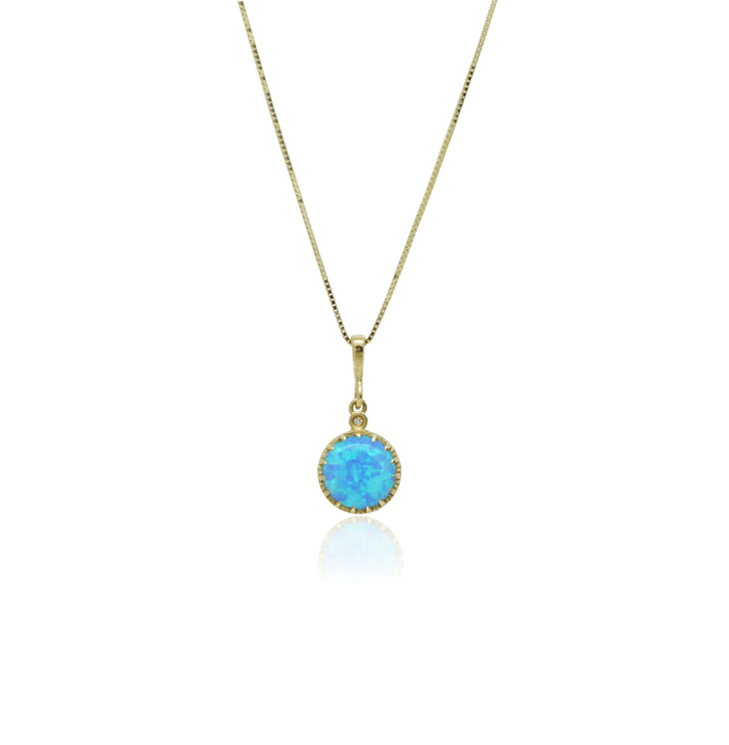 Blue Opal Necklace Set in 14k Solid Gold - atperry's healing crystals