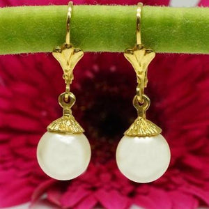 Pearl Dangle Earrings Set in 14K Solid Gold - atperry's healing crystals