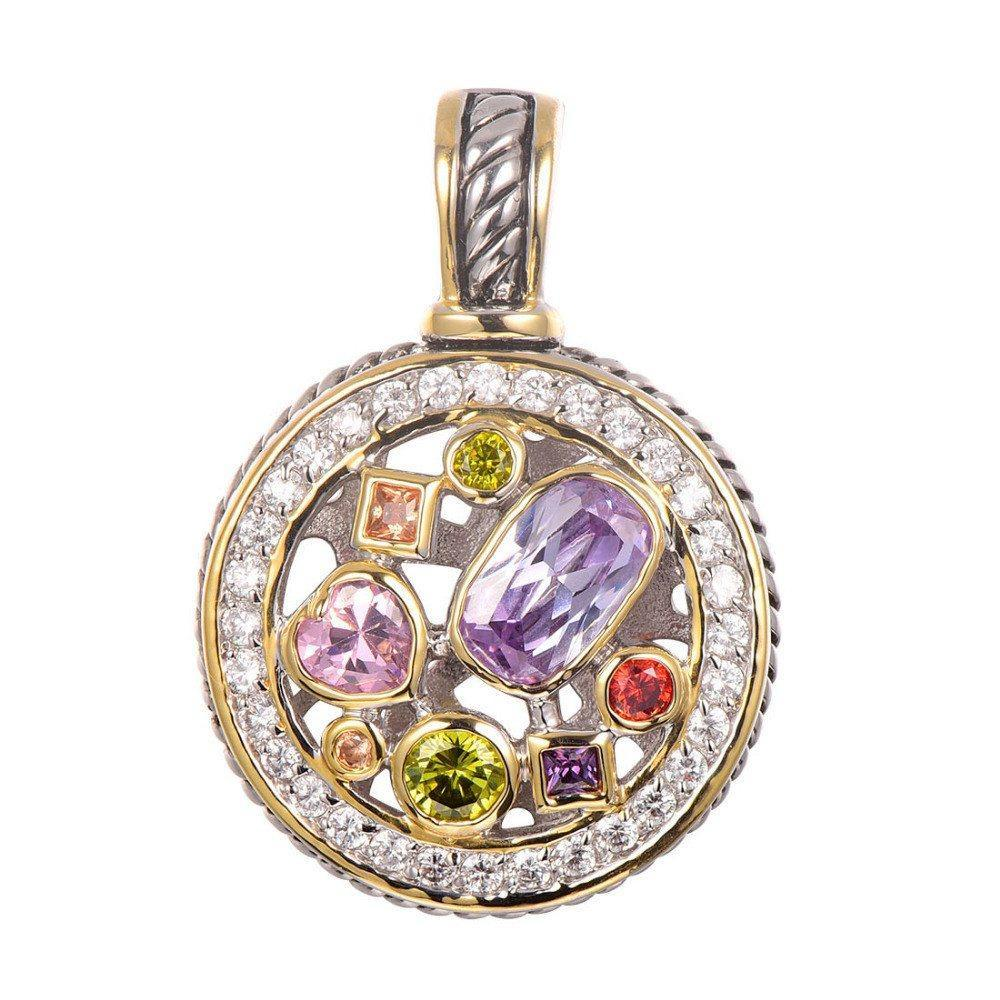 Amethyst, Peridot, Topaz, Ruby Pendant - 925 Sterling Silver - AtPerrys Healing Crystals - 1