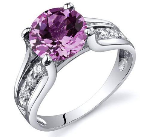 Pink Sapphire Sterling Silver Solitaire Ring   AtPerrys Healing Crystals   1