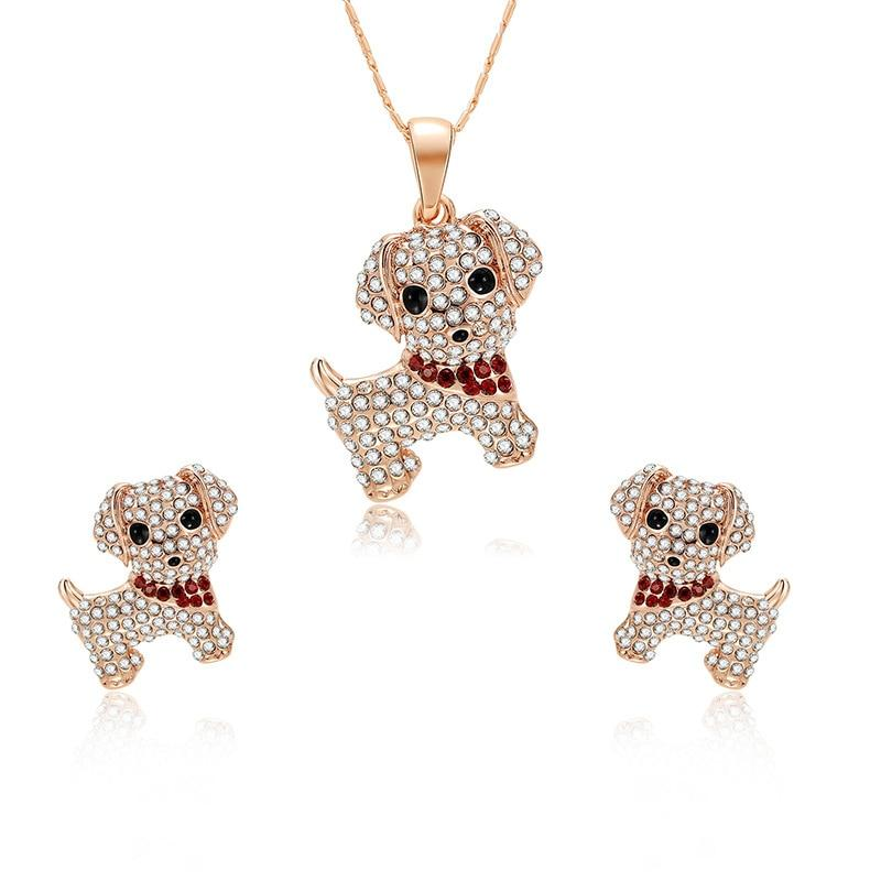 Cute Little Dog Crystal Earrings & Necklace - For KidsNecklace