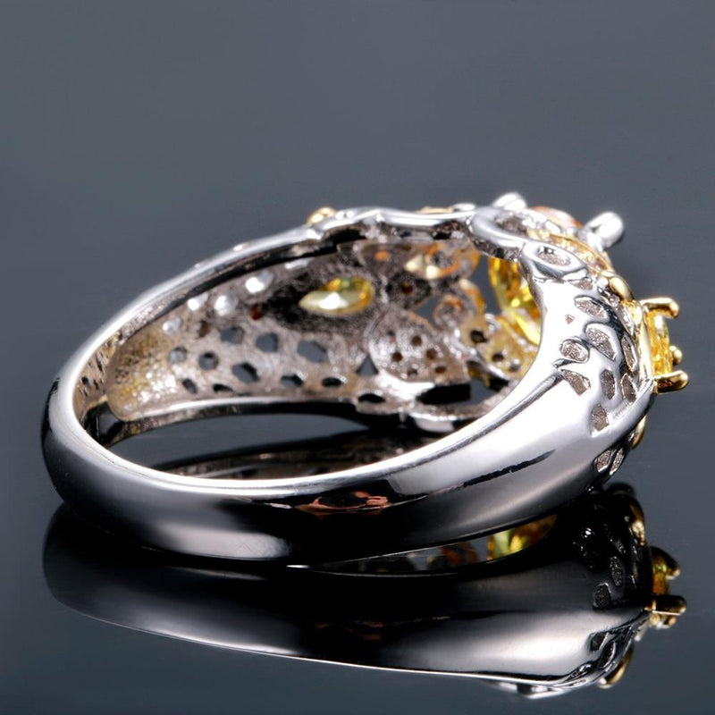 Lovable Citrine Zircon Ring - 925 Sterling SilverRing