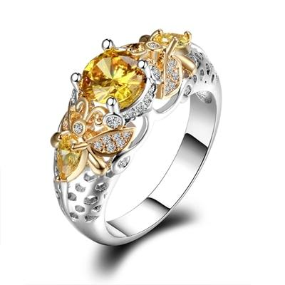 Lovable Citrine Zircon Ring - 925 Sterling SilverRing10Citrine