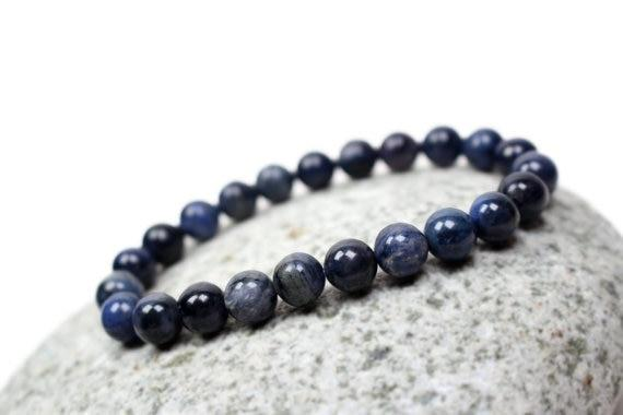 Natural Blue Dumortierite Gemstone Bracelet - atperry's healing crystals