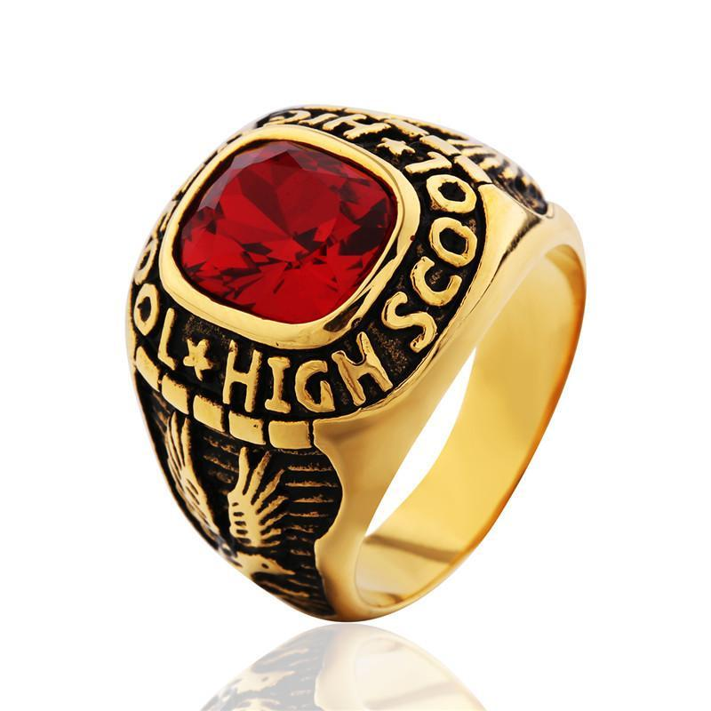 Eagle Ruby Men Ring - Stainless Steel - AtPerrys Healing Crystals - 1