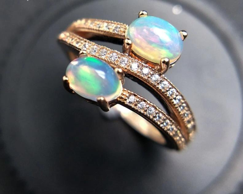 Fashionable Ethiopian Double Stone RingRing