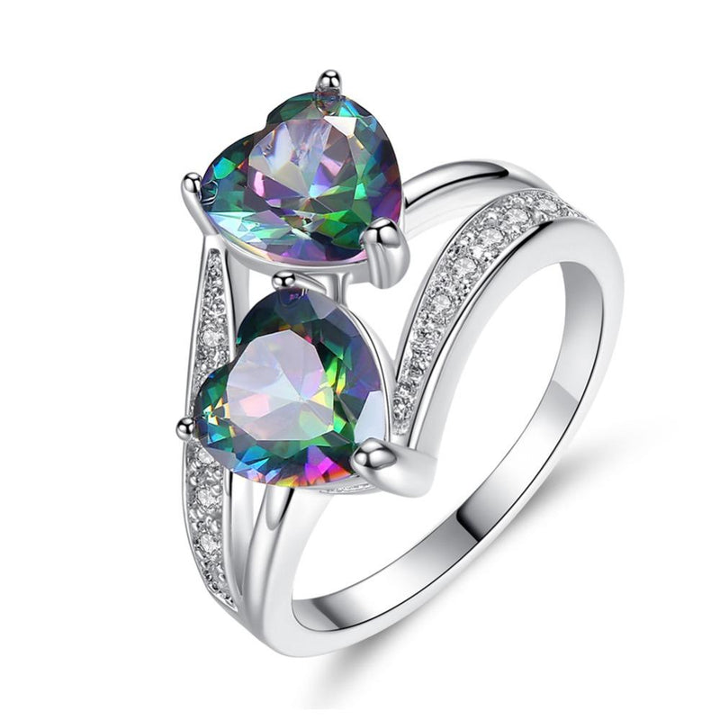 Twin Heart Mystic Topaz Ring